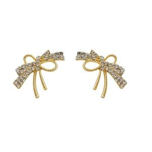 Festive Bow & Crystals Gold-plated Earrings